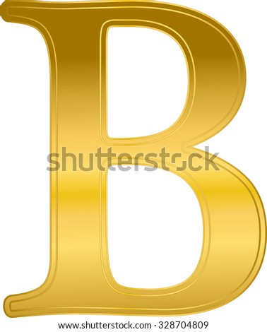letter B metal gold