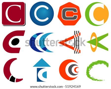Letter C Alphabet Design Icons Set - stock vector