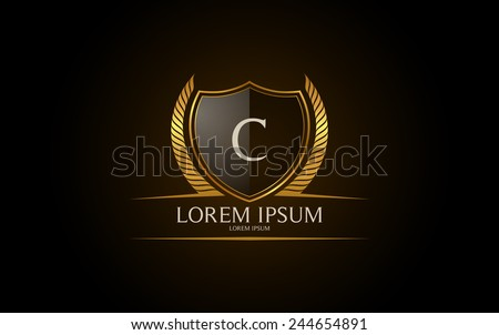 Letter C crest logo. Alphabet logotype vector design. - stock vector