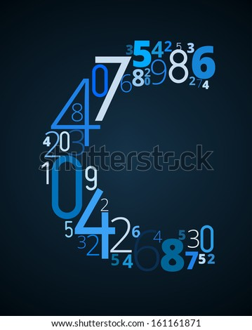 Letter C,  from different numbers typography vector font - stock vector