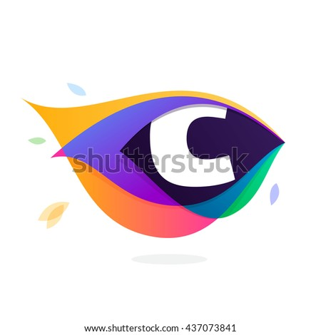 Letter C logo in peacock feather icon. Multicolor vector alphabet letters for app icon, corporate identity, card, labels or posters. - stock vector
