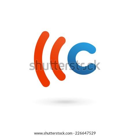 Letter C wireless logo icon design template elements  - stock vector