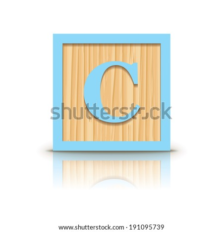 Letter C wooden alphabet block - vector illustration - stock vector
