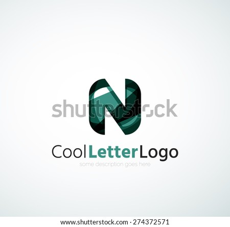 Letter company logo design. Clean modern abstract concept made of overlapping flowing wave shapes - stock vector
