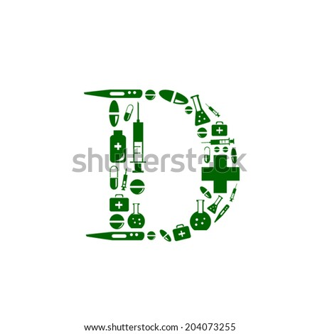 Letter D, alphabet of medicine pills - stock vector