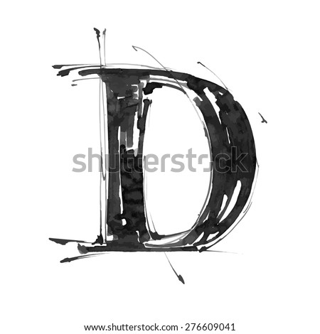letter D. Alphabet symbol - grunge hand draw paint / vector illustration - stock vector
