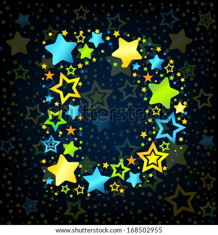 Letter D cartoon kid style vector font with  colored  stars - stock vector