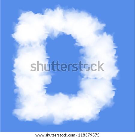 Letter D cloud shape - stock vector