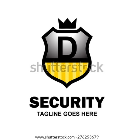 Letter d crest logo. Alphabet logotype vector design . heraldic shape shield . abstract symbol of security . gray and yellow Security Shield with Black typography style . vector illustration - stock vector