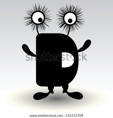 letter d, funny character design - stock vector