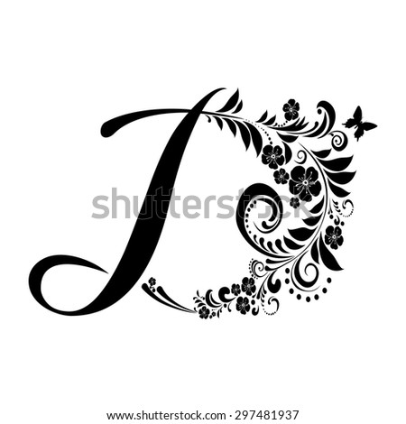 Letter D Isolated On White Romantic Of Beautiful Flowers Floral Alphabet Vector