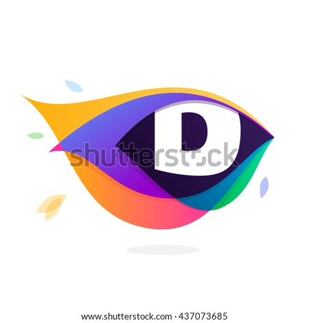 Letter D logo in peacock feather icon. Multicolor vector alphabet letters for app icon, corporate identity, card, labels or posters. - stock vector