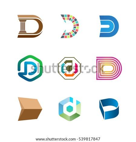 Letter D Logo Set Color Icon Stock Vector 539817847 - Shutterstock