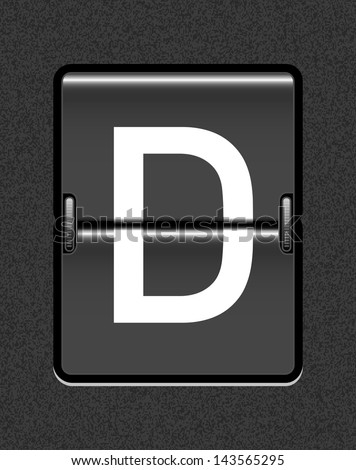 Letter D on a mechanical timetable - stock vector