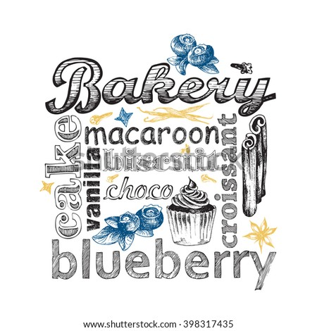Letter design hand drawn vector isolated for bakery shop, confectionery. Vector sketch different words and elements for baking and sweet themes.  Blueberry cupcake. - stock vector