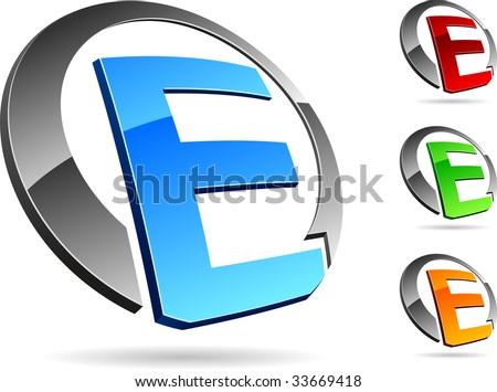 e Letter Logo 3d Letter Quot e Quot 3d Vector Icons