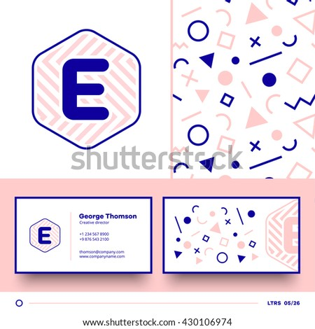 Letter e logo element seamless pattern stock vector 430106974 letter e logo element with seamless pattern and business card vector design template elements for thecheapjerseys Gallery