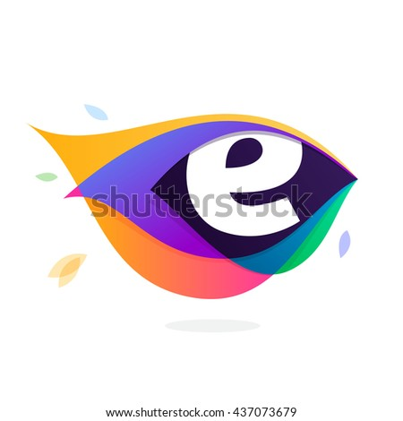 Letter E logo in peacock feather icon. Multicolor vector alphabet letters for app icon, corporate identity, card, labels or posters. - stock vector