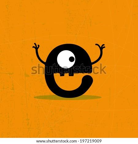 Letter e Monster on grunge background. vector illustration - stock vector