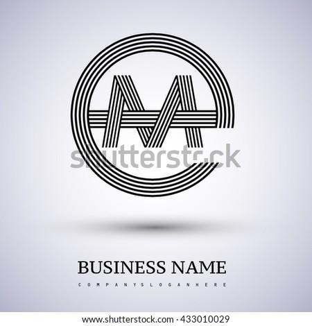 Letter EM or ME linked logo design circle E shape. Elegant black colored letter symbol. Vector logo design template elements for company identity. - stock vector