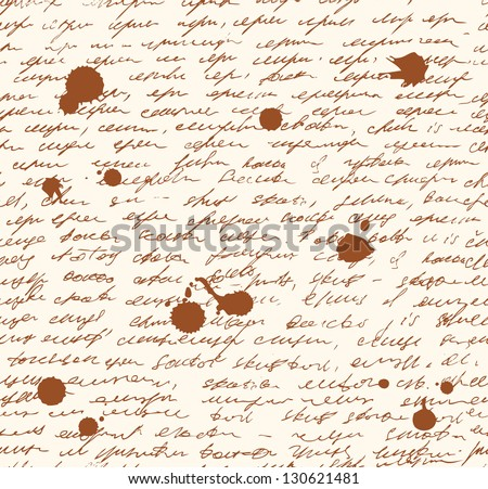 Letter endless pattern. Script with dots of ink. Seamless grunge background. Sketch of writing template - stock vector