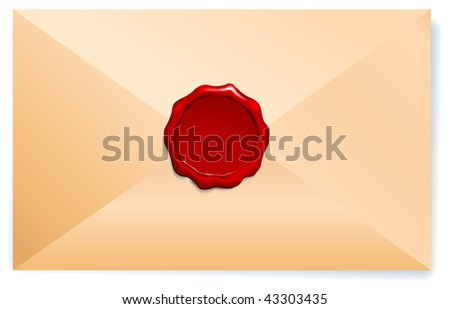 Letter Envelope with Wax Seal Original Vector Illustration Wax Seal Letter Stamp Ideal for Old Style Concept