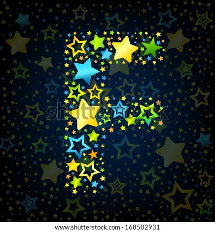 Letter F cartoon kid style vector font with  colored  stars - stock vector