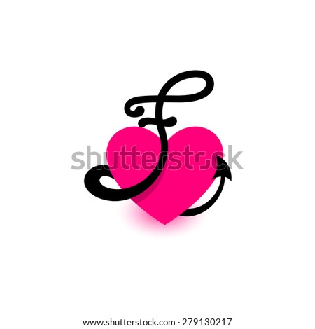 Letter f heart beautiful vector love stock vector 279130217 letter f heart beautiful vector love logo the symbol of the union passion thecheapjerseys Image collections