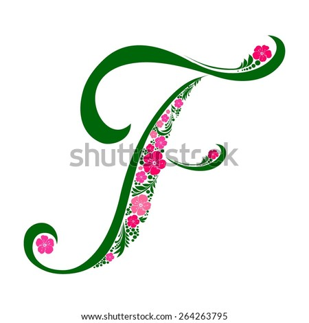 Letter F isolated on white. Romantic letter of beautiful flowers. Floral Alphabet. Vector Illustration - stock vector