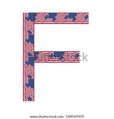 Letter F made of USA flags on white background from USA flag collection, Vector Illustration