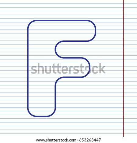 Letter f sign design template element stock vector 653263447 letter f sign design template element vector navy line icon on notebook paper as maxwellsz