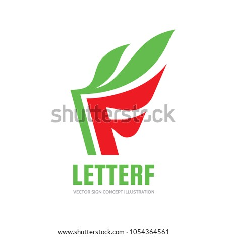 Letter f vector business logo template stock vector 1054364561 letter f vector business logo template concept illustration green leaves creative sign abstract accmission Gallery
