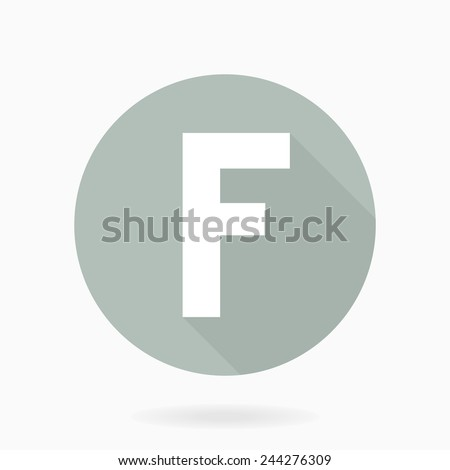 Letter F vector flat icon in blue circle with long shadow - stock vector
