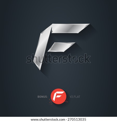 Letter F, Vector silver font. Elegant Template for company logo. Metallic Design element or icon. Pseudo origami style, including flat version. - stock vector