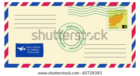 letter from Afghanistan - stock vector