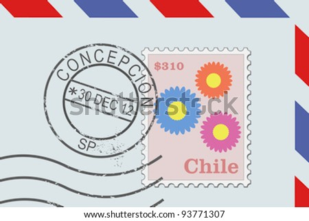 Letter from Chile - postage stamp and post mark from Concepcion. Chilean mail. - stock vector
