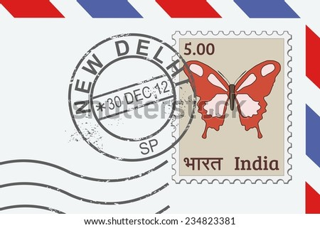 Letter from India - postage stamp and post mark from New Delhi. Indian mail. - stock vector