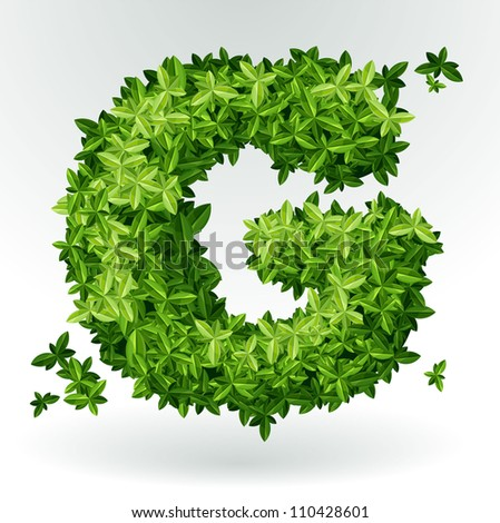 Letter G, green leaves summer vector alphabet. - stock vector