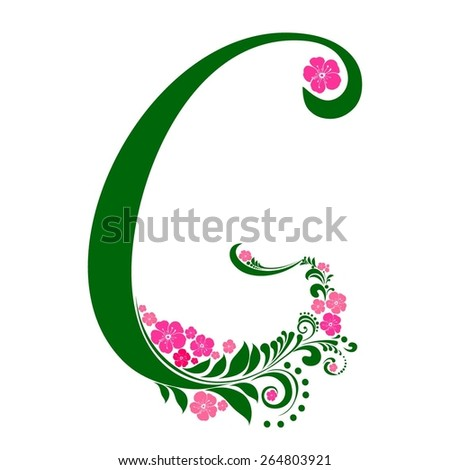 Letter G isolated on white. Romantic letter of beautiful flowers. Floral Alphabet. Vector Illustration - stock vector