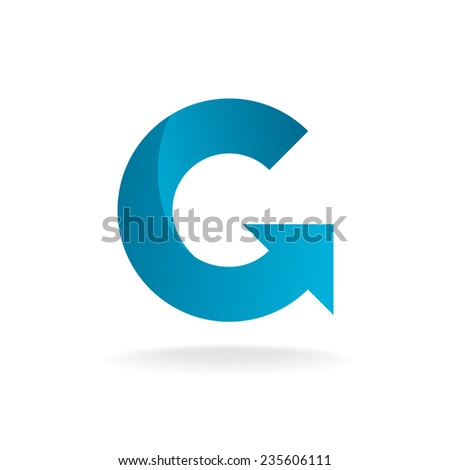 Letter G logo template. Blue round ribbon with arrow head. - stock vector