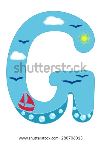 Letter G Sea summer wavy alphabet vector illustration Nautical wavy lines uppercase font ABC letter in marine cyan and blue color with water bubbles, flying birds and sea boat Funny cartoon alphabet - stock vector