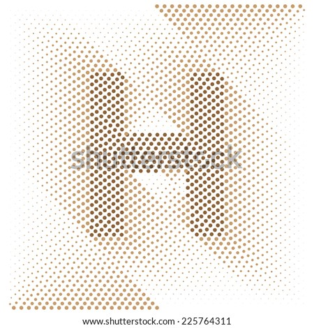 Letter H - Abstract dotted optical illusion alphabet  - stock vector