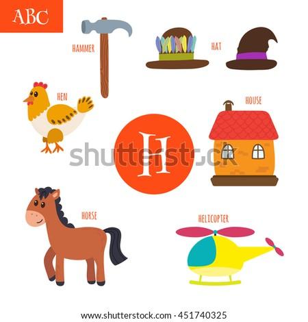 letter h cartoon alphabet for children hen horse hat house