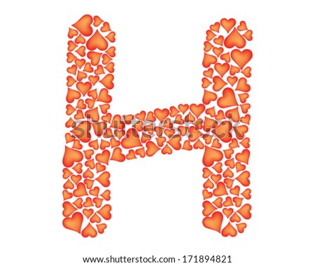 letter h made of valentines