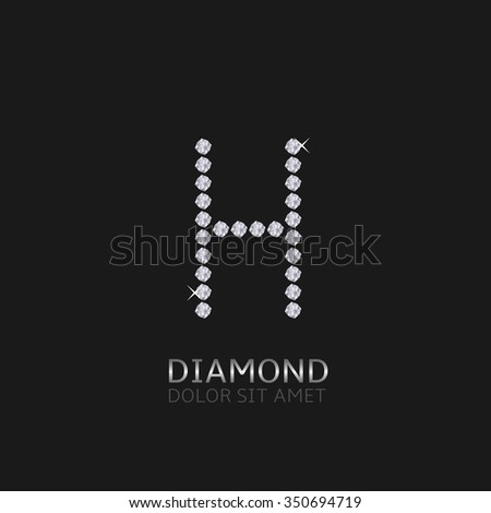 Letter H with gemstones. Luxury Diamond alphabet, Vector illustration - stock vector