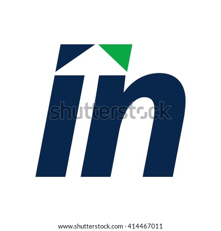 letter i and n logo vector.