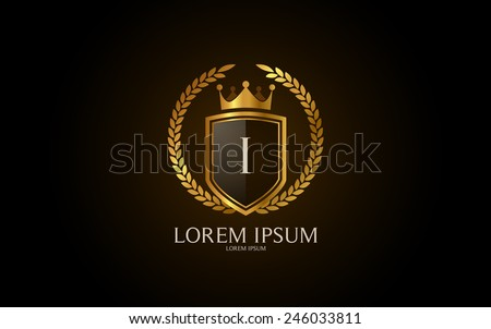 Letter I crest logo. Alphabet logotype vector design. - stock vector