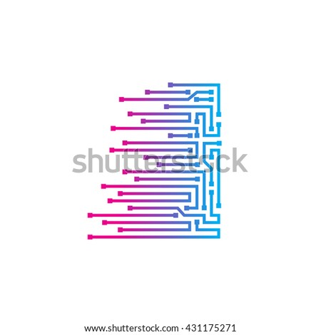 Letter I logo design template,technology,electronics,digital,logotype - stock vector