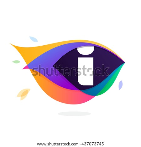 Letter I logo in peacock feather icon. Multicolor vector alphabet letters for app icon, corporate identity, card, labels or posters. - stock vector