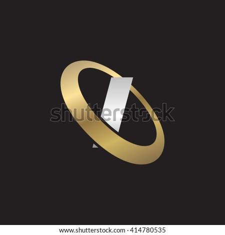Letter I orbiting swoosh business logo gold silver black background - stock vector